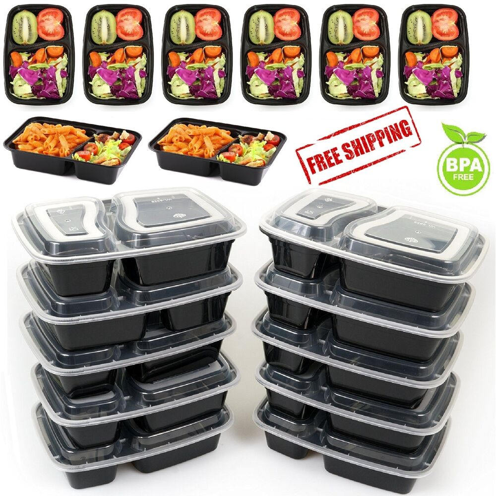 10 meal prep containers food storage 2 compartment plastic microwavable reusable ebay. Black Bedroom Furniture Sets. Home Design Ideas