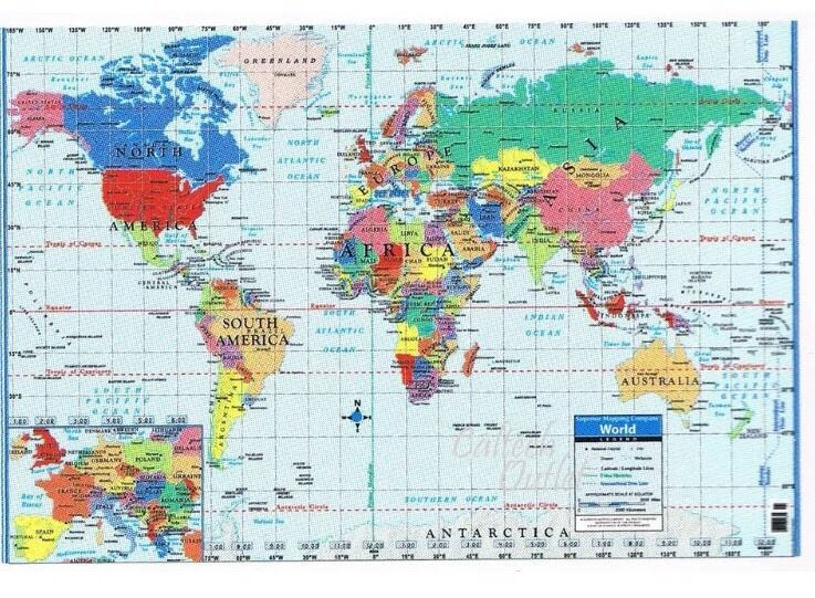 World Map Poster Size Wall Decoration Large Map Of World 40 X 28