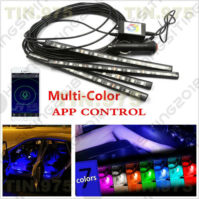 multi color phone app wireless music control led strip lights car interior kit ebay. Black Bedroom Furniture Sets. Home Design Ideas