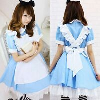 Alice in Wonderland anime cosplay costume lolita dress maid outfit UK S-L 8-14