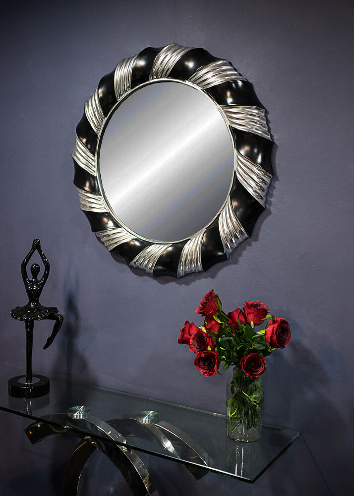 Silver black wall mirror modern large 83cm round bedroom for Large silver modern mirror