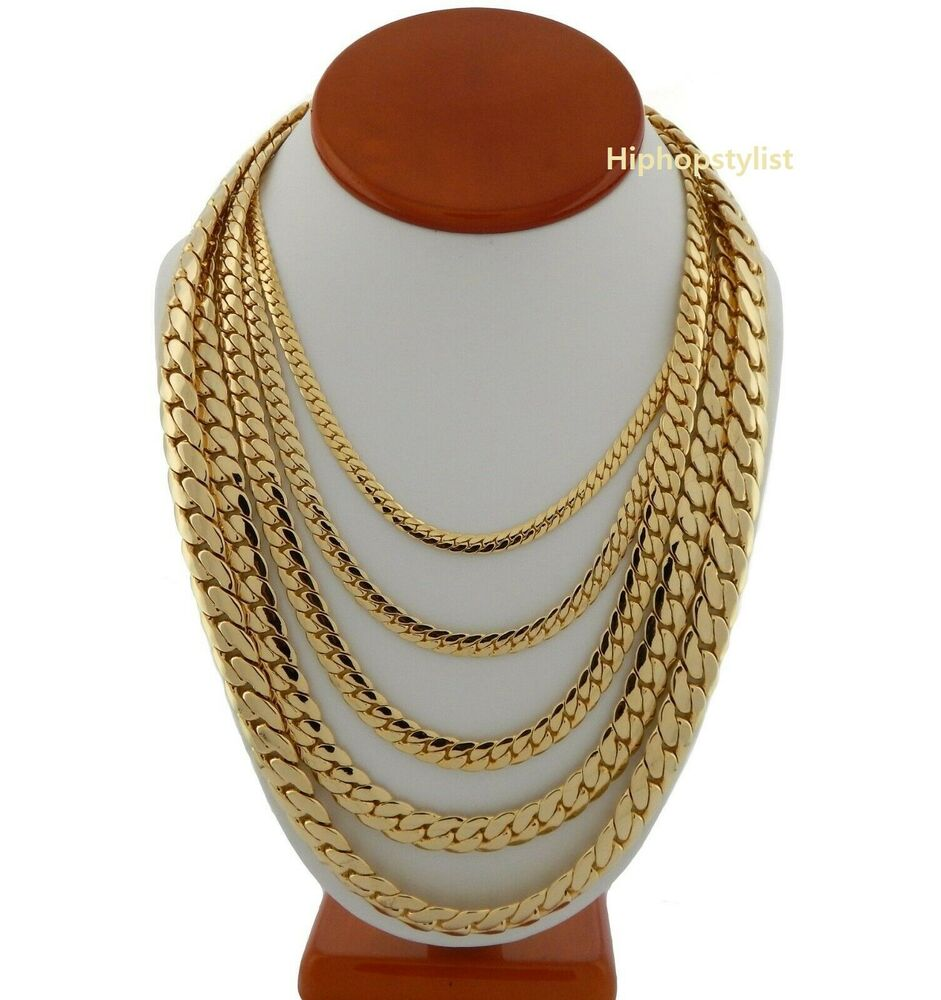 Mens Miami Cuban Link Chain 14k Gold Plated 5mm To 12mm 8