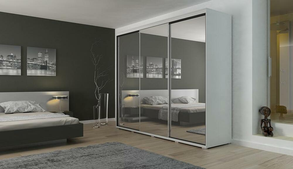 modern full 3 sliding door mirror wardrobe 150x215x61 cm white ebay
