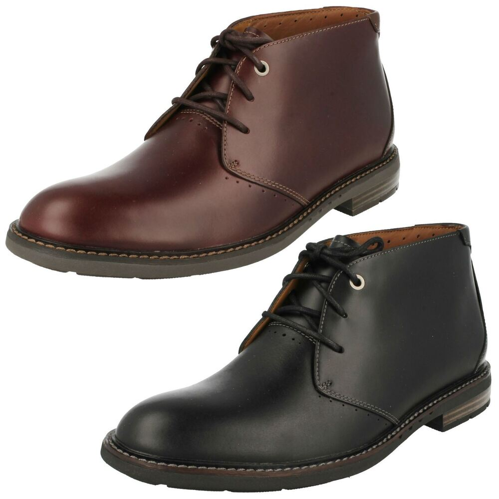 Mens Clarks Unstructured Unelott Mid Leather Lace Up Boots