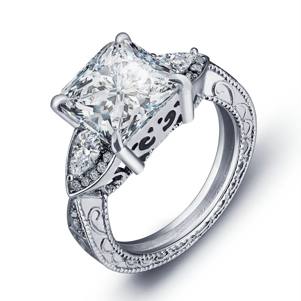 Vintage Women Jewelry Cushion cut 5ct Diamonique Cz 925 ... Jewellery Rings For Women