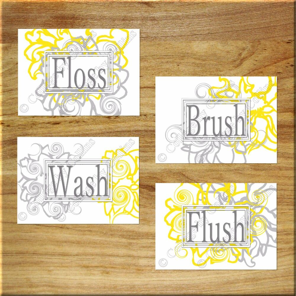 Gray Yellow Floral Bathroom Wall Art Picture Prints Floss Wash Brush ...