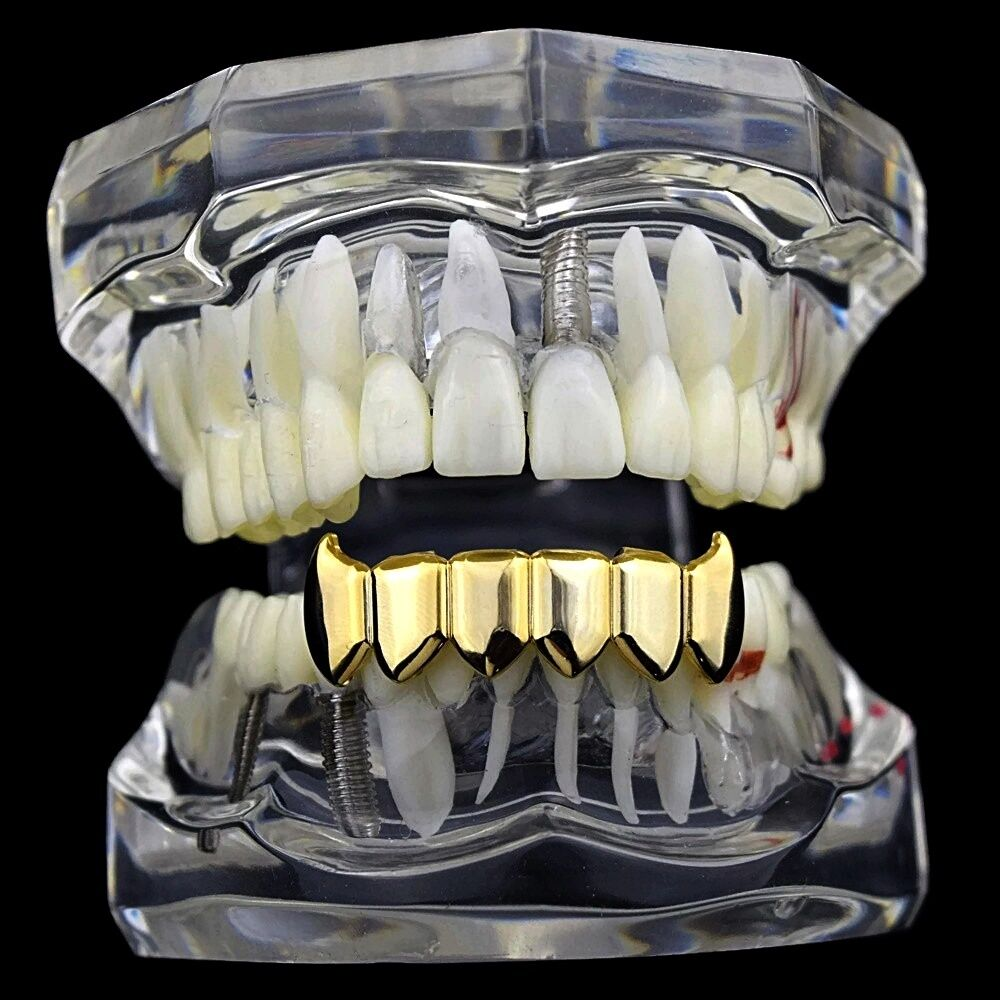 Fang Grillz 14k Gold Plated Bottom Plain Teeth Lower ...