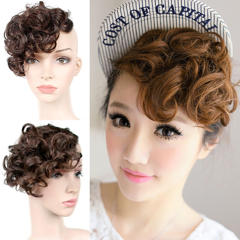 new women bangs piece clip on front inclined fringe hair