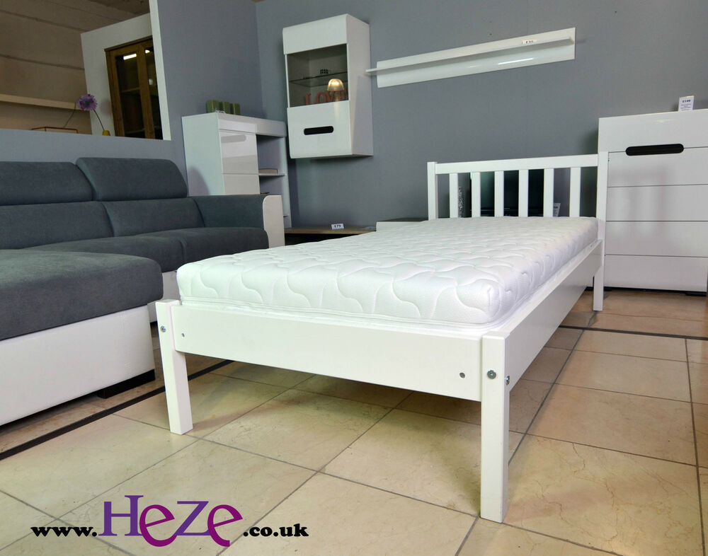 High quality strong solid single wooden bed in white for Good quality single beds
