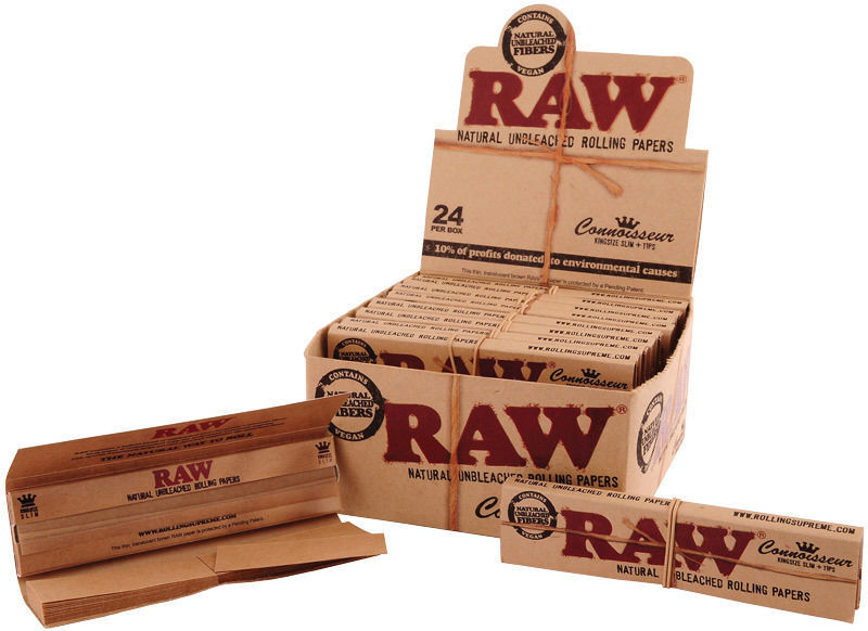 RAW Connoisseur Kingsize Slim Rolling Papers with Tips Classic ...