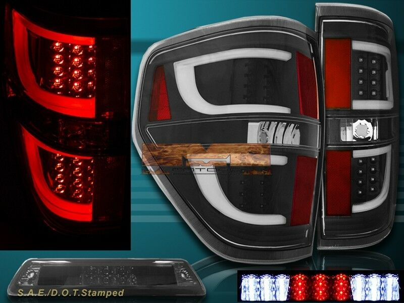 09 14 Ford F150 Xl Xlt Stx Black Housing Led Tail Lights