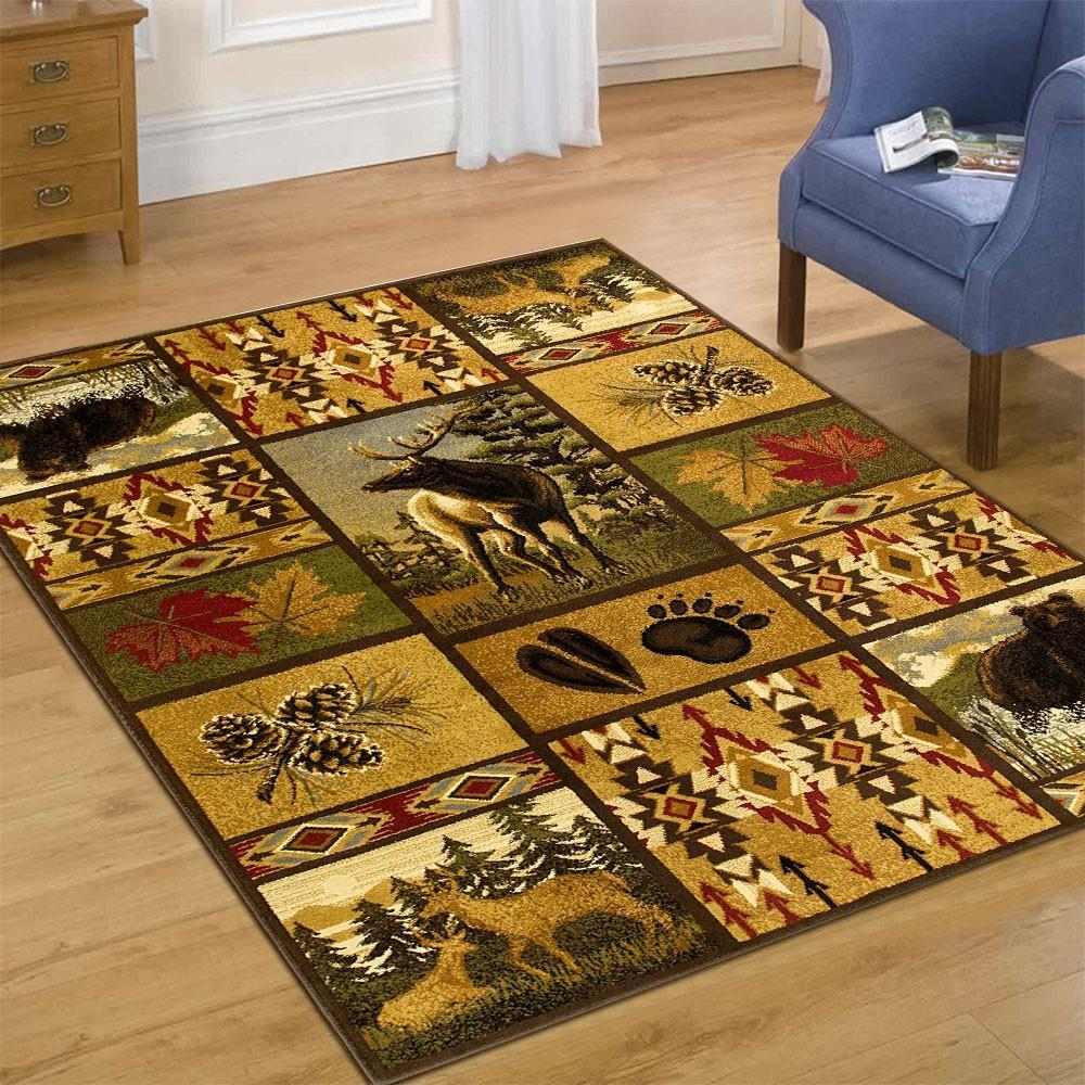 ~Wilderness~ Lodge Theme Bear Deer Southwestern MAT RUG