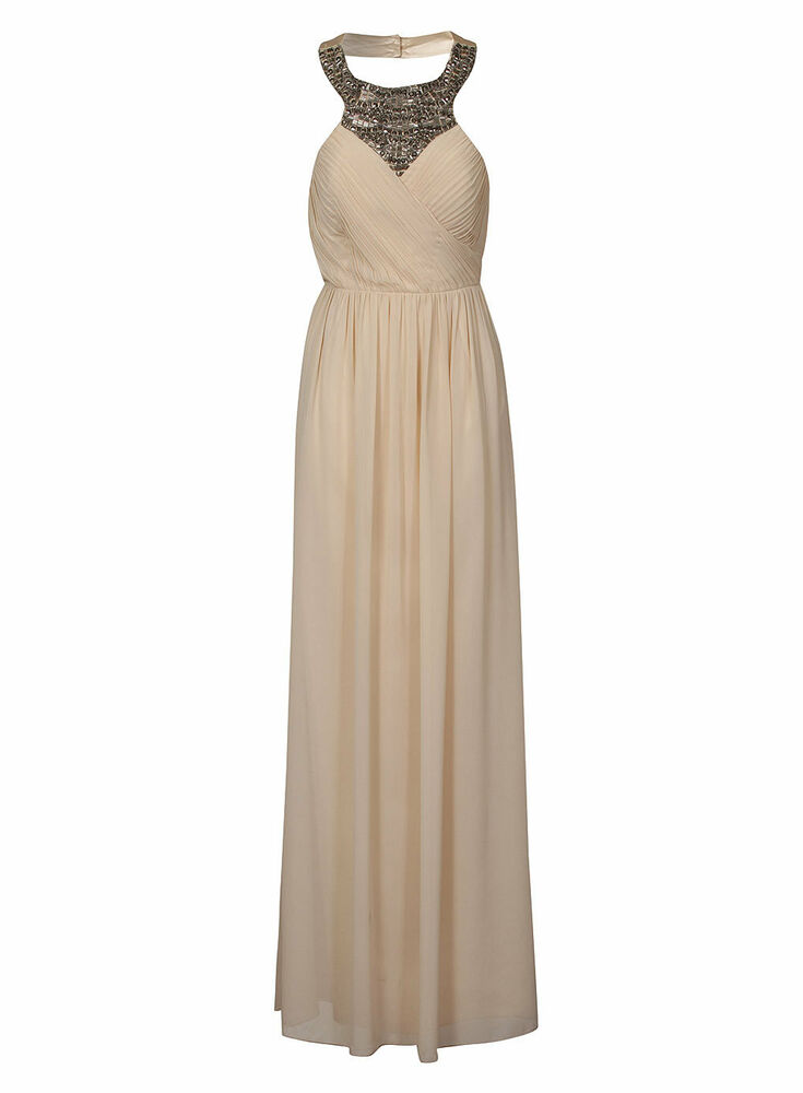 Details about Little Mistress Classic Occassion Embellished Maxi Dress 12  Cream Silver f4c06ba76