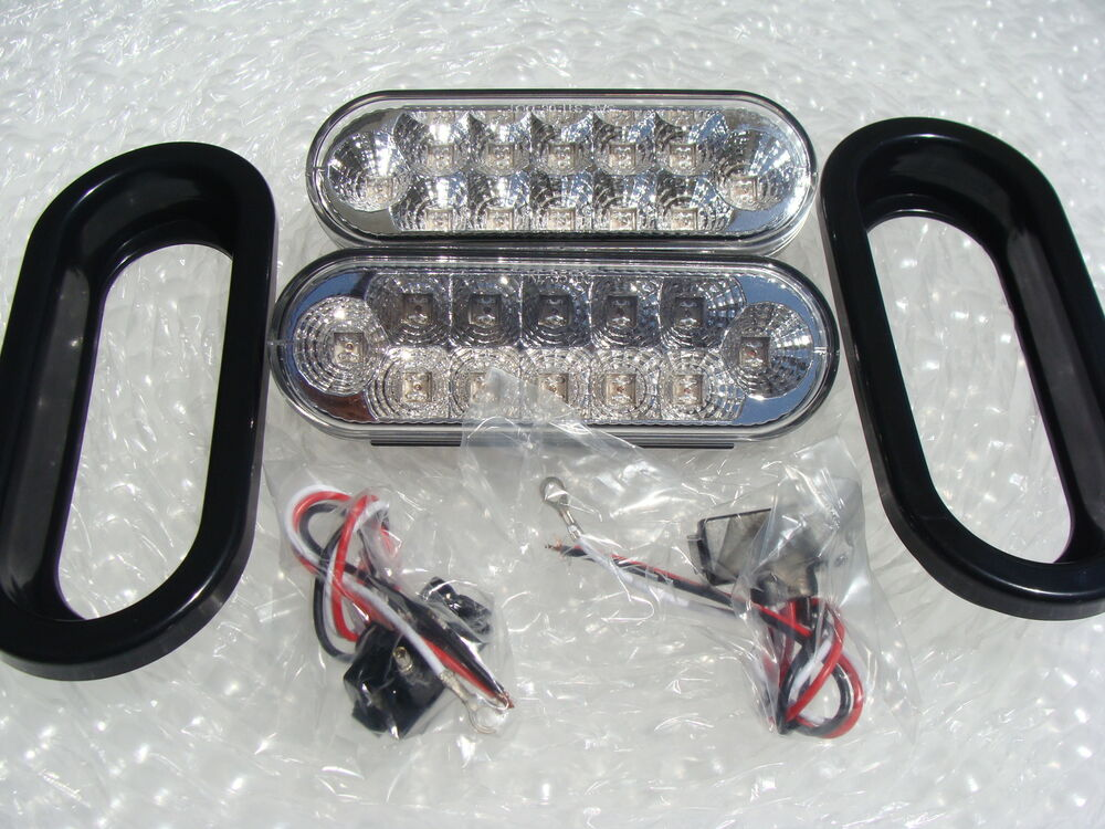 Trailer Tail Light Lens : Boat trailer oval clear lens red led tail lights life time