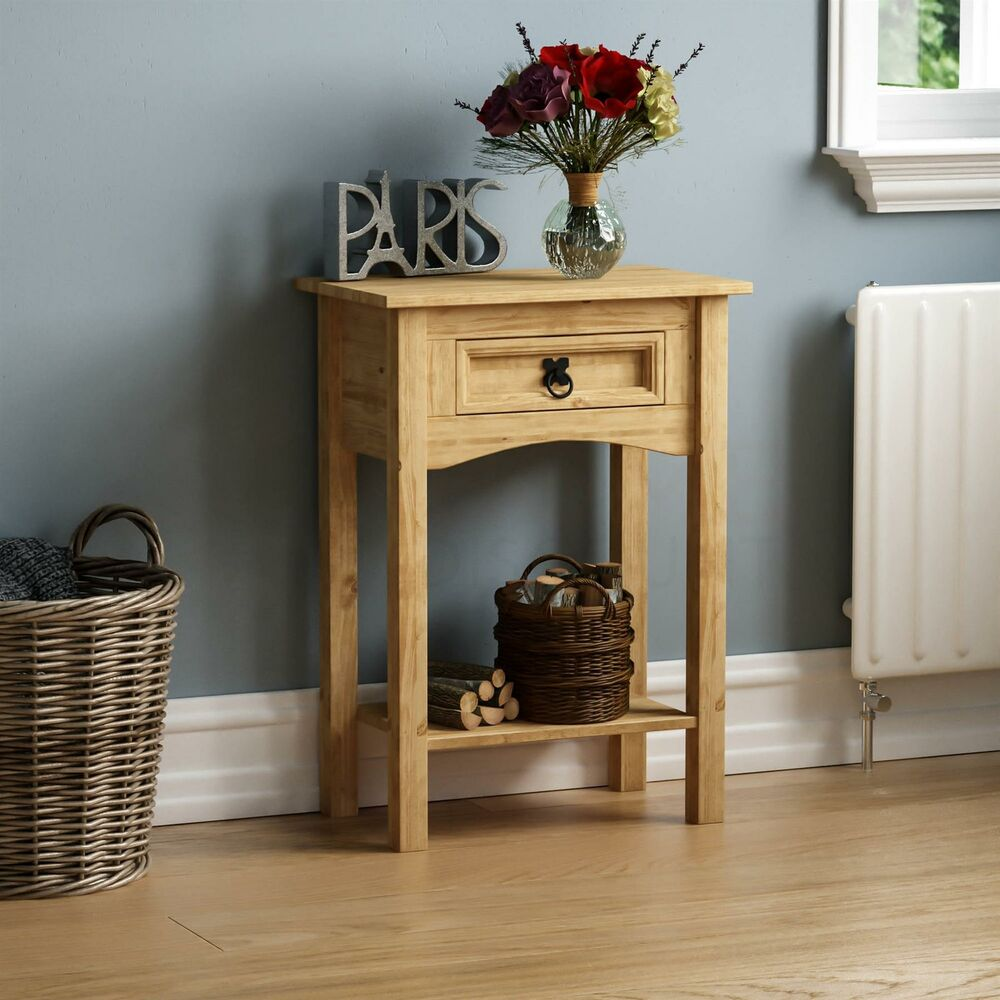 Corona 1 drawer console table shelf mexican solid pine wood waxed rustic finish ebay - Pine sofa table with drawers ...