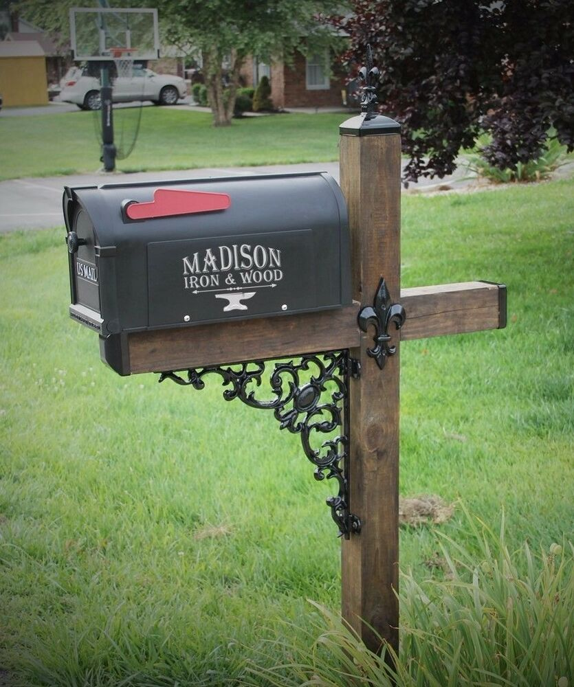 wrought iron mailbox post fleur de lis wood post mailbox dress up kit wrought iron 1666