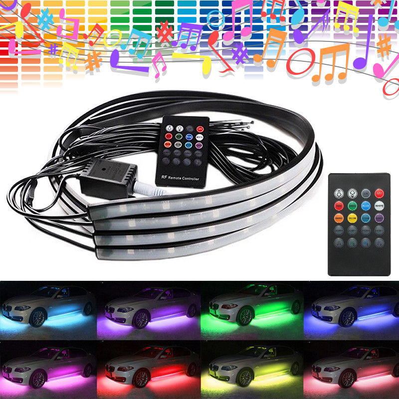 4pcs rgb led under car tube strip underbody glow neon light kit wireless control ebay. Black Bedroom Furniture Sets. Home Design Ideas