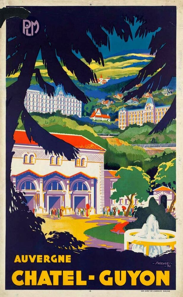 Chatel-Guyon France  city photos : 1932 Chatel Guyon, Auvergne, France poster 13x19inches | eBay