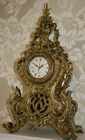 Louis XV FRENCH ANTIQUE CLOCK Gilt Bronze MANTEL 51cm Large Ormolu Ornate/Rococo