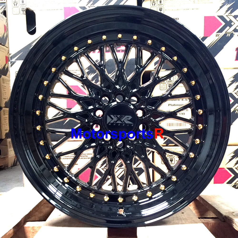 xxr 536 wheels 18 x 9 32 black gold rivets deep dish step lip rims mesh 5x114 3 ebay. Black Bedroom Furniture Sets. Home Design Ideas