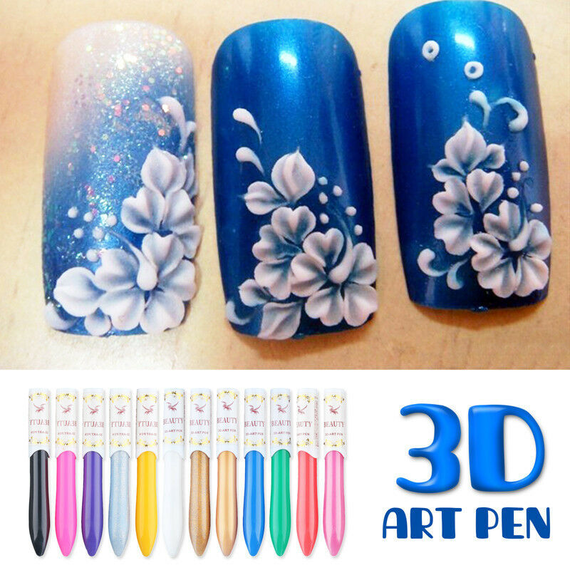 12 colors 3d nail art paint drawing pen manicure acrylic for 3d nail art decoration