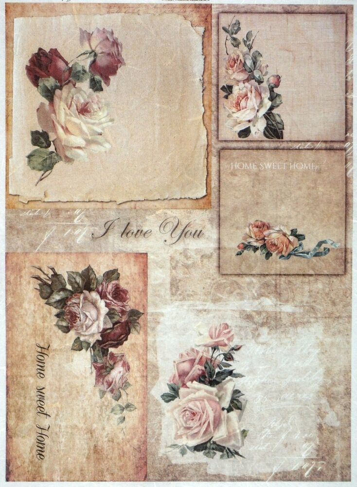 rice paper for decoupage decopatch scrapbook craft sheet vintage roses home ebay. Black Bedroom Furniture Sets. Home Design Ideas