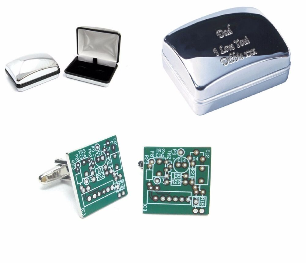 Computer Circuit Board Cufflinks Engraved Chrome Case Personalised Your Text Ebay