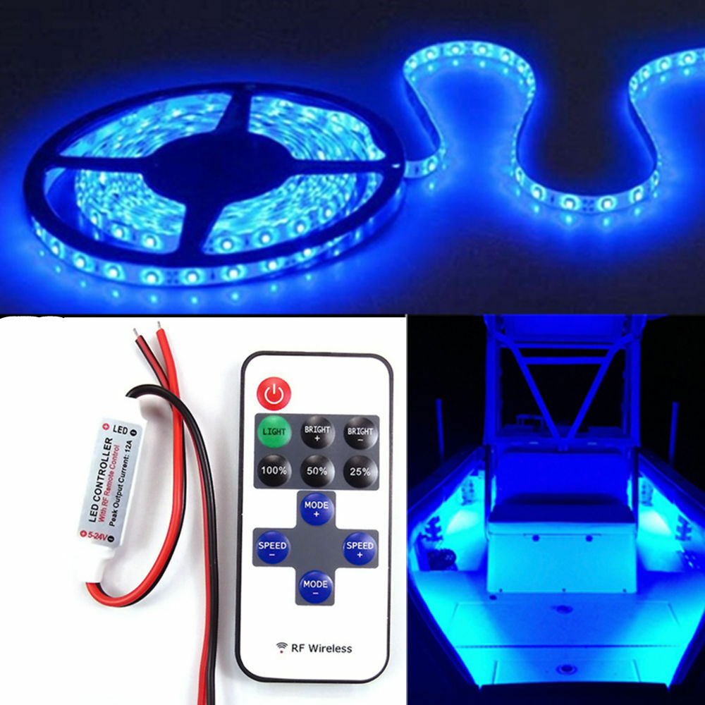Wireless 16 Ft Blue Led Strip Kit For Boat Marine Deck Interior Lighting Ebay