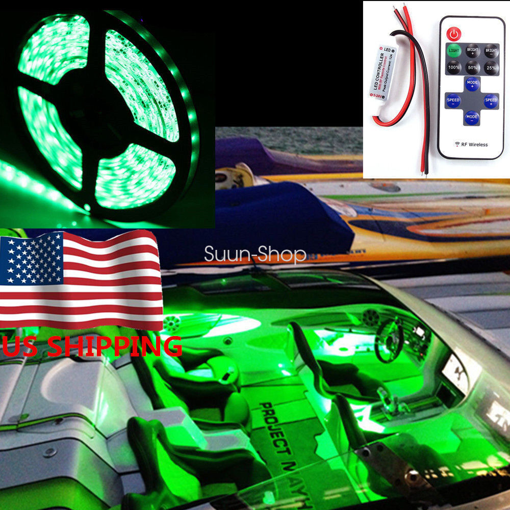 Wireless Green 16 Ft 300smd Led Strip Kit For Boat Marine Deck Interior Lighting Ebay