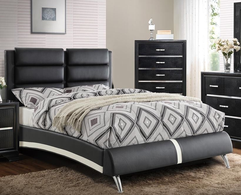 black queen bed frame new kylan modern white black leatherette chrome 29017