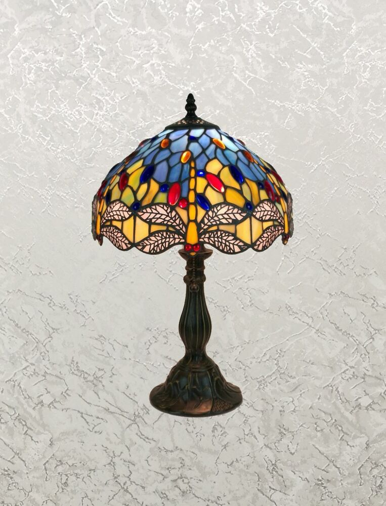 Beautiful Tiffany Style Blue Multi Color Stained Glass
