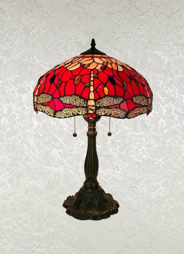 Beautiful Tiffany Style Red Dragonfly Table Lamp Shade 16 Quot Ebay