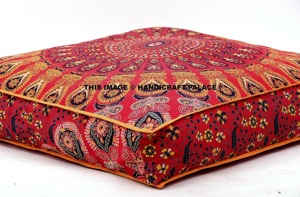 Peacock Mandala Floor Pillows Indian Square Ottoman Poufs Large Cushion Dog Bed eBay