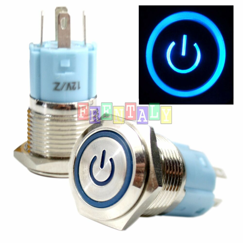 ssfn 16mm blue on off led 12v latching push button power switch waterproof ebay. Black Bedroom Furniture Sets. Home Design Ideas