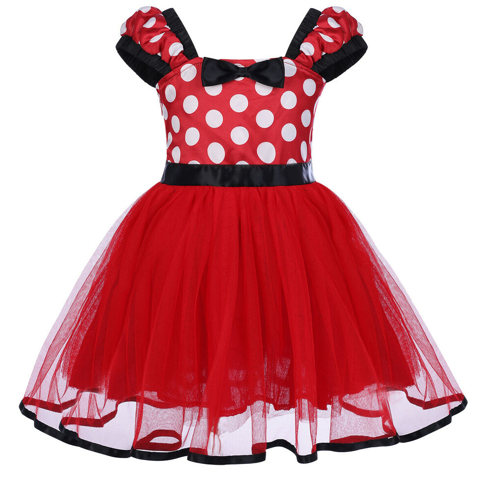 Toddler Baby Girl Minnie Mouse Bow Dots Dress Tutu Skirt