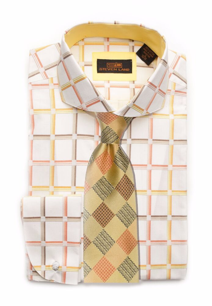 Dress shirt steven land rounded spread collar round french for Big and tall french cuff dress shirts