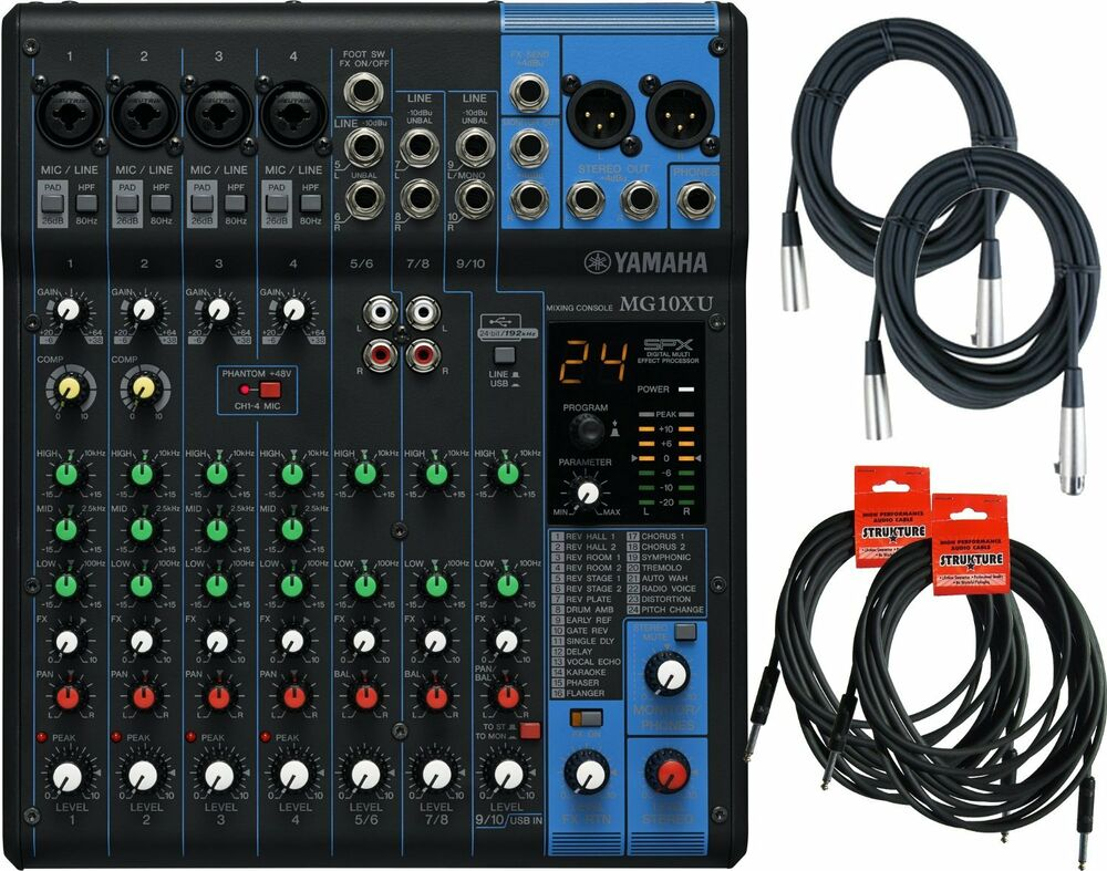yamaha mg10xu 10 input stereo effect and usb mixer with cables ebay. Black Bedroom Furniture Sets. Home Design Ideas