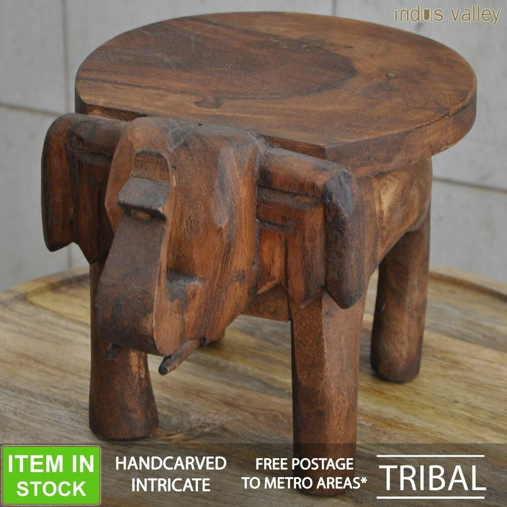 Solid wood elephant hand carved round little tiny lamp