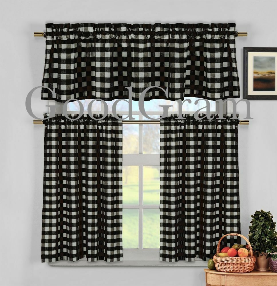 Country Red Kitchen Curtains: Black Gingham Checkered Plaid Kitchen Curtain Tier & Valance Set By Duck River
