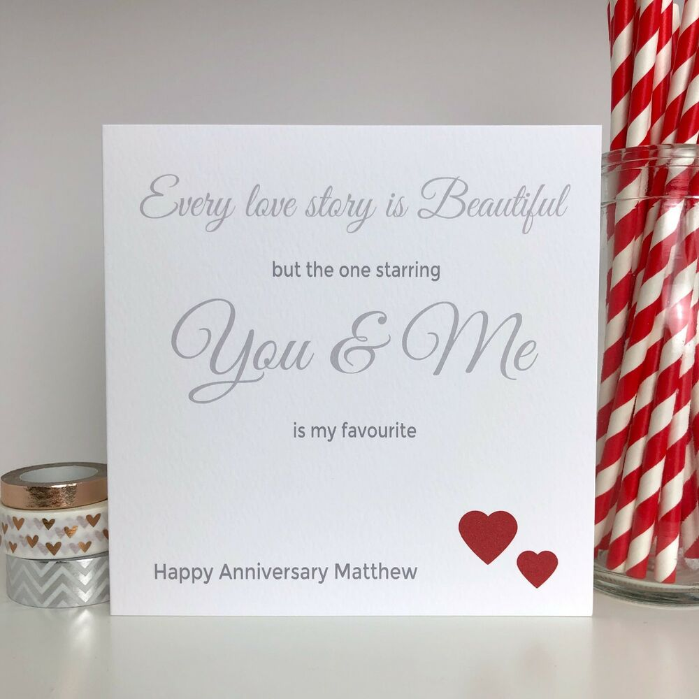 personalised wedding anniversary card husband wife 1st 2nd 3rd 5th