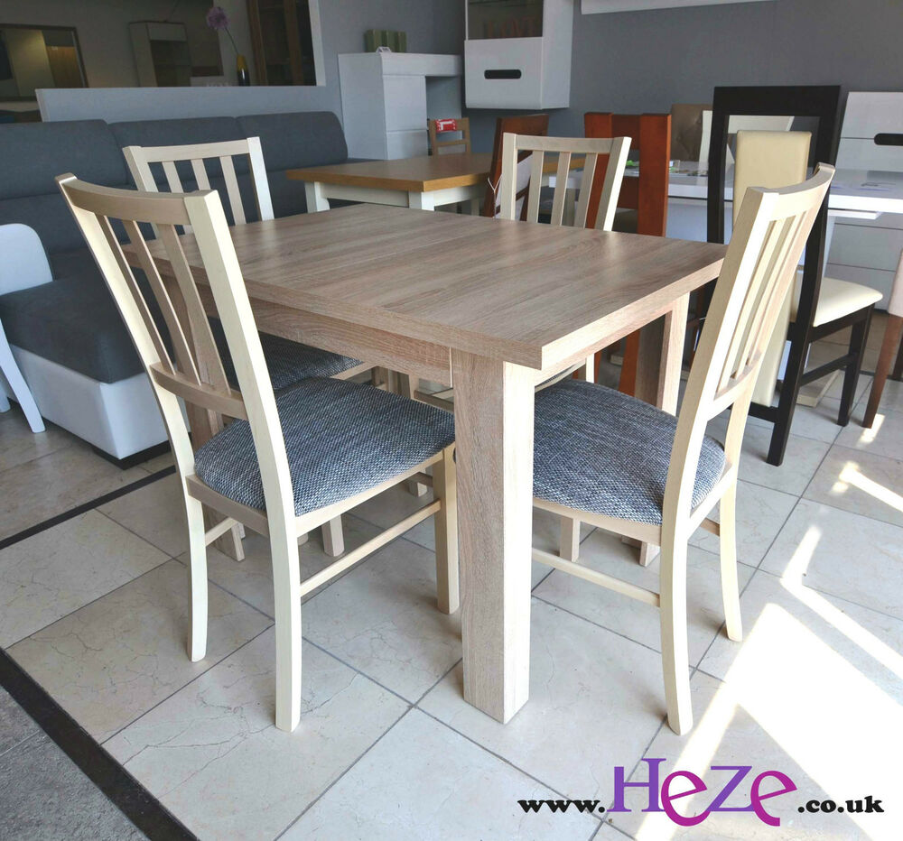 extending dining table and 4 lovely chairs in oak sonoma