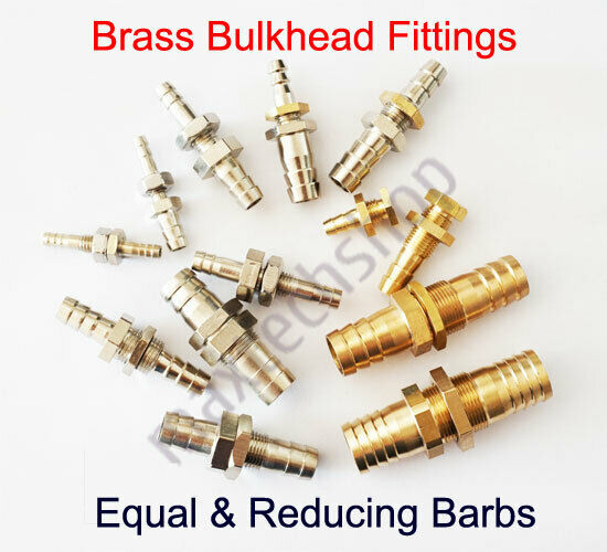 Brass Bulkhead Fitting Hose Barb Pipe Tube Connector Fuel