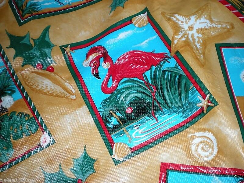 Vintage Rare Tropical Christmas Pink Flamingo Vinyl Table