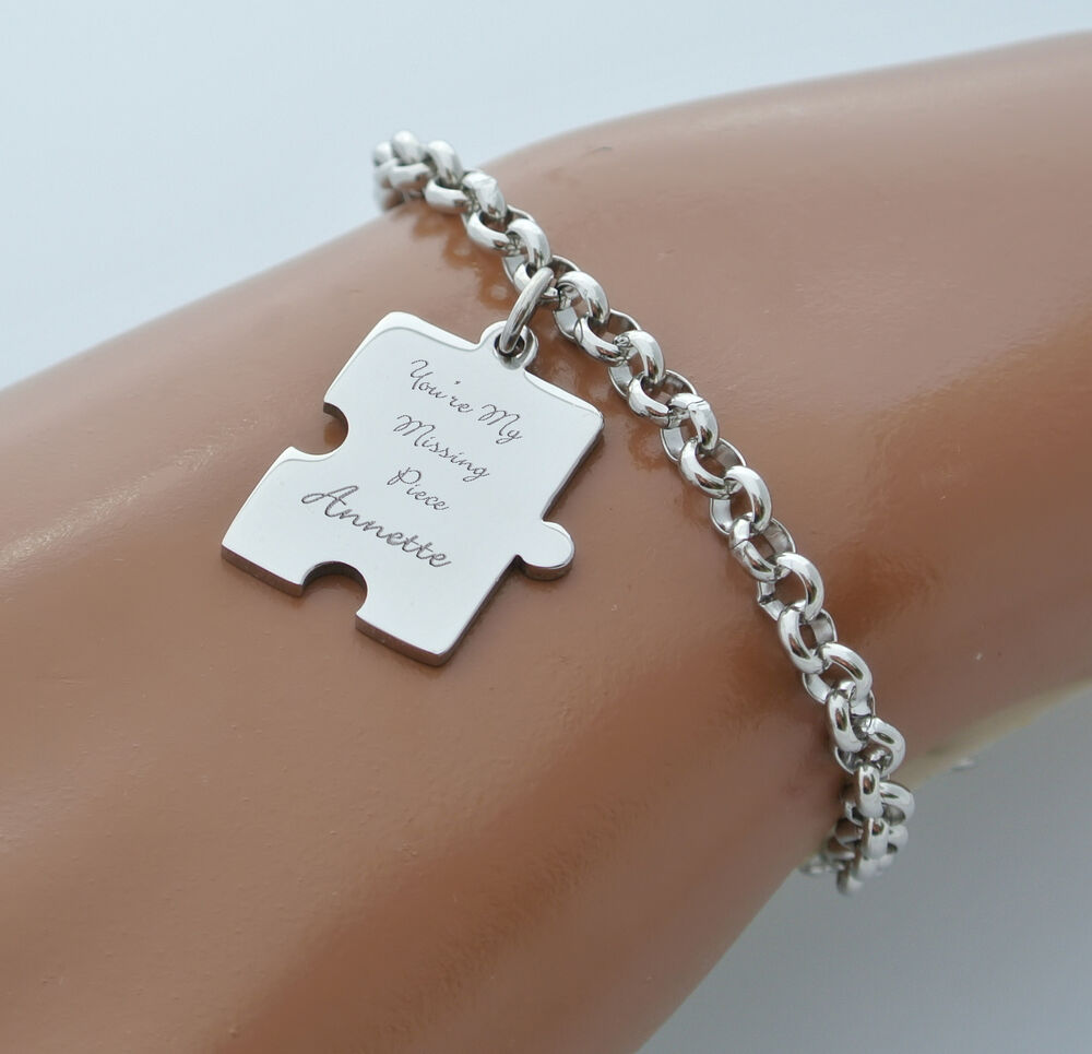 Personalized Bracelet Charms: PERSONALIZED SILVER STAINLESS STEEL PUZZLE CHARM BRACELET