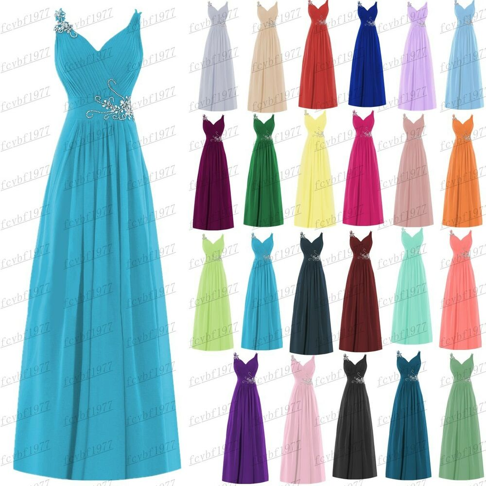 Long new formal evening ball gown party prom bridesmaid for Wedding dresses cheap ebay