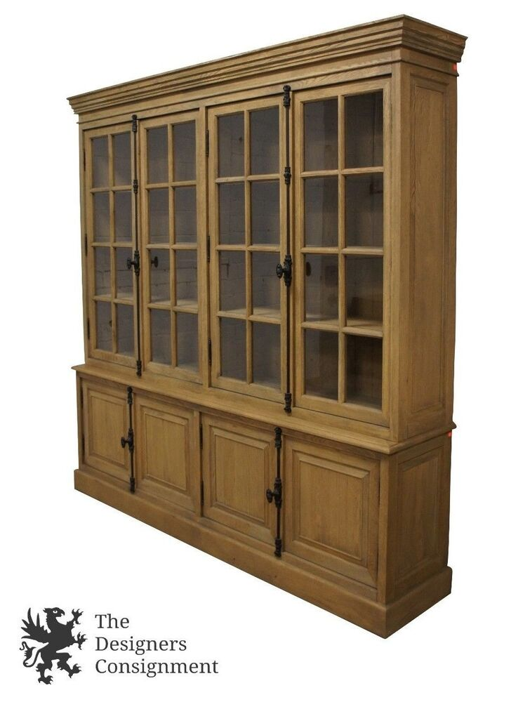 Restoration hardware french casement 4 door sideboard hutch china cabinet oak ebay - Restoration hardware cabinets ...