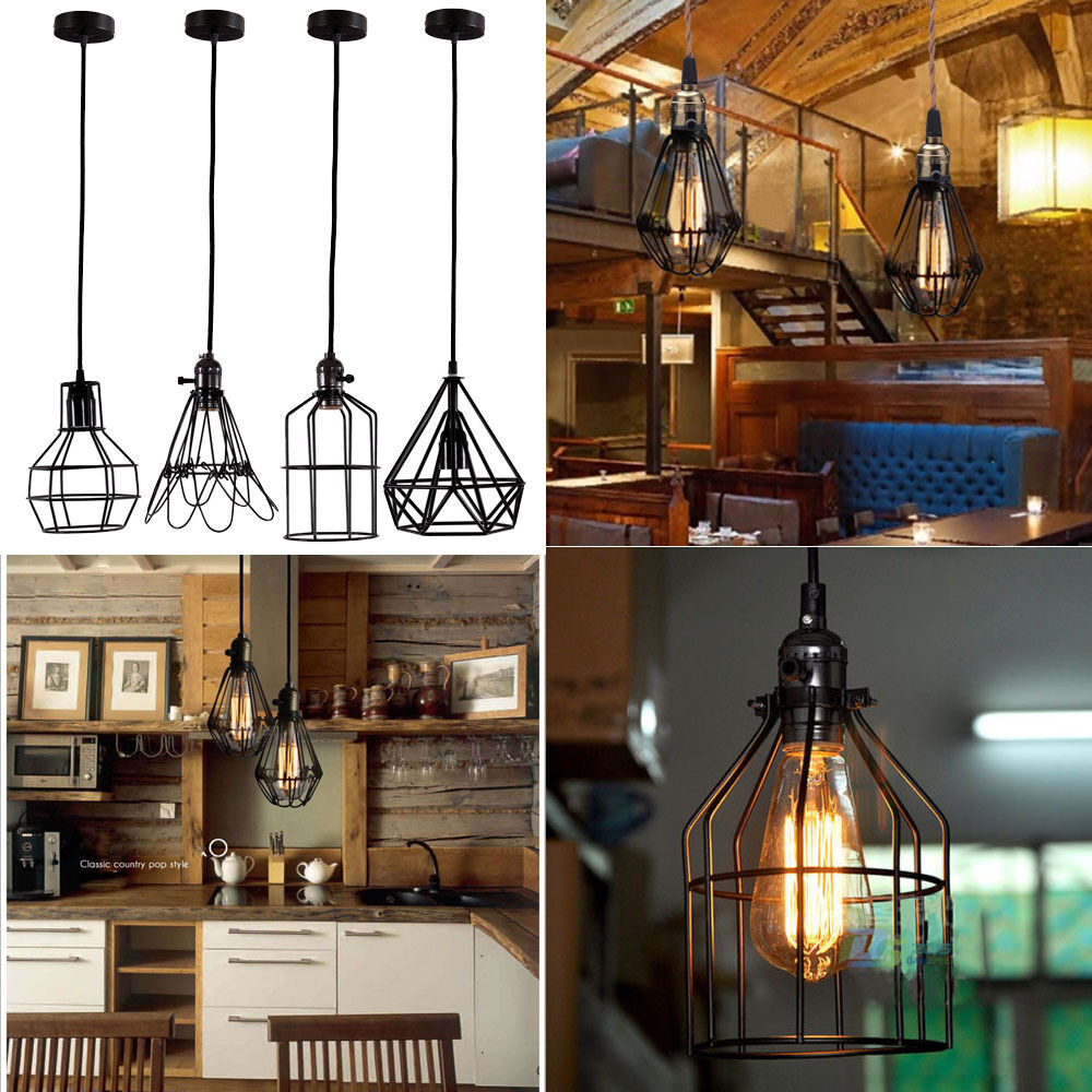 E27 Vintage Metal Cage Industrial Pendant Lamp Hanging
