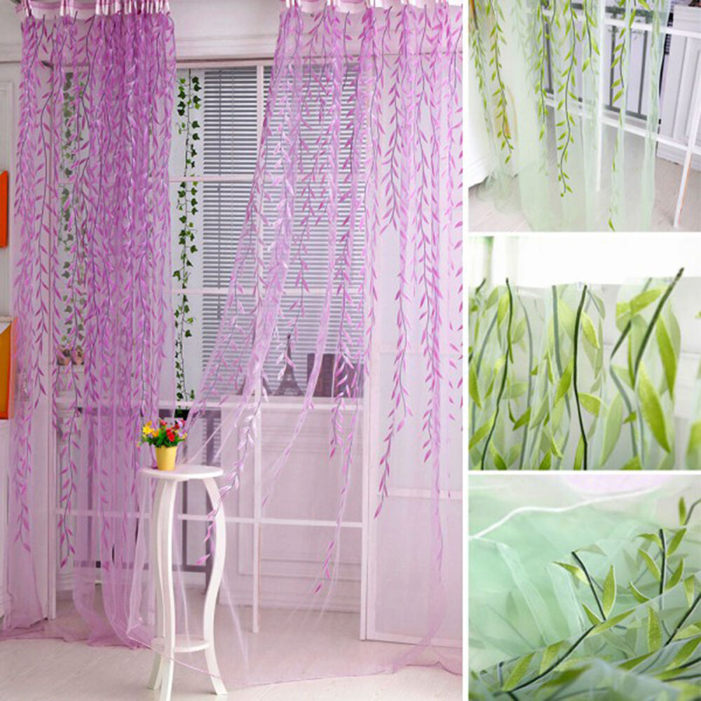 Tree Willow Curtains Blinds Voile Tulle Room Curtain Sheer
