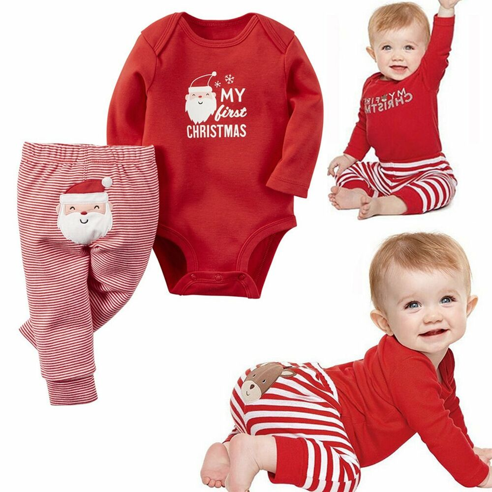 00eb052be16c Newborn Baby Boy Girls Christmas Clothes Tops Romper Long Pants 2PCS ...