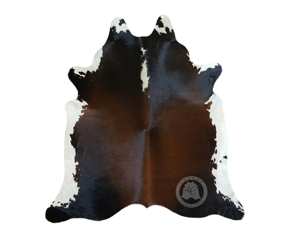 New Brazilian Cowhide Rug Leather Mahogany Brown And Black